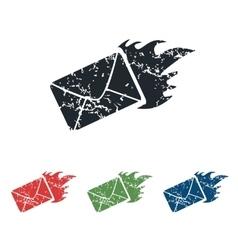 Burning envelope grunge icon set vector