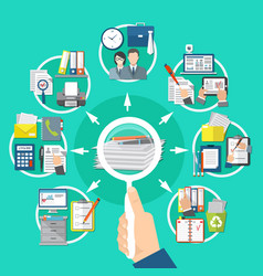 business items round composition vector image