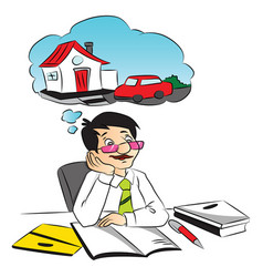 businessman dreaming while working at office vector image