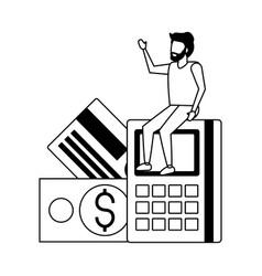 businessman sitting on calculator vector image