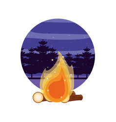 Campfire camping with night landscape vector