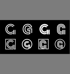 Capital letter g modern set for monograms logos vector