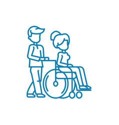 care for disabled people linear icon concept care vector image