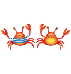 cartoon cute cheerful crab vector image