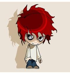 Cartoon redhead humble boy vector