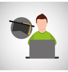 Character graduation cap online education vector