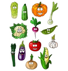 Cheerful cartoon various vegetables characters vector