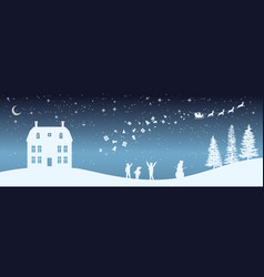 Christmas nigh panorama silhouettes of kids vector