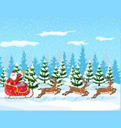 christmas santa claus rides reindeer sleigh vector image