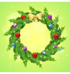 Christmas wreath with baubles vector image