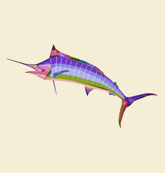 colorful marlin fish on pop art vector image