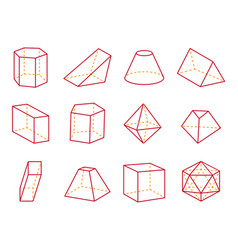 Cube and cone with flat top vector
