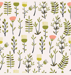 Cute hand drawn plant seamless pattern vector