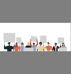 Diverse young people parade protest set isolated vector
