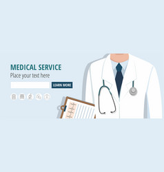 Doctor holding document web banner vector