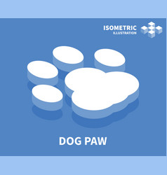 Dog paw icon isometric template for web design vector