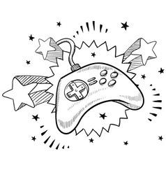 Doodle pop videogame controller vector