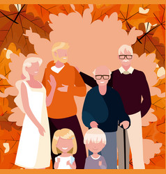 Family and leaves in autumn season design vector