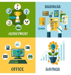 Flat concept of business office achievement vector image