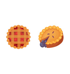 Fruit dessert pie icons in cartoon style vector