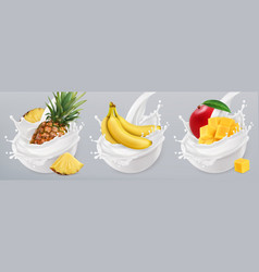 Fruit yogurt banana mango pineapple and milk vector
