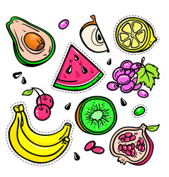 Fruits - isolated retro stickers set vector
