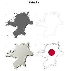 Fukuoka blank outline map set vector