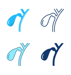gallbladder icon set in flat and line style vector image