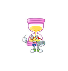 Gamer icon sandglass in cartoon character vector