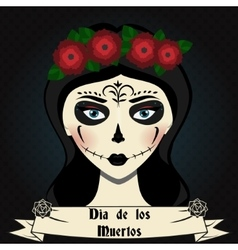 Girl with sugar skull calavera make up mexican vector