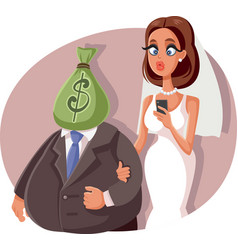 gold digger marrying sugar daddy cartoon vector image