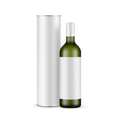 green glass wine bottle with label and paper tube vector image