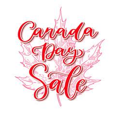 Happy canada day sale card handwritten vector