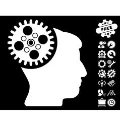 Head Gearwheel Icon with Tools Bonus vector