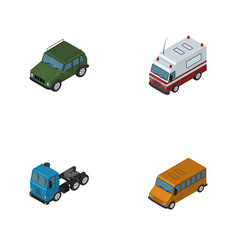 isometric car set of armored truck autobus and vector image