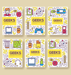 It geeks brochure cards thin line set vector