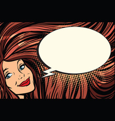 joyful woman with long hair and a comic bubble vector image