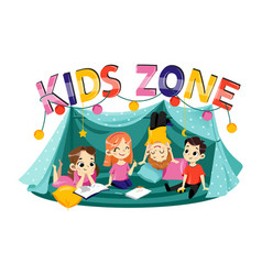 Kids zone cartoon banner colorful letters vector