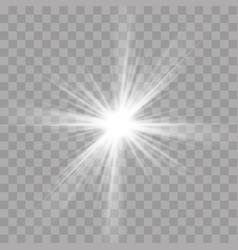 Light rays flash effect of sun star shine radiance vector