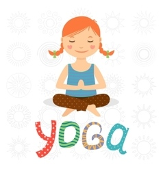Little girl doing yoga vector