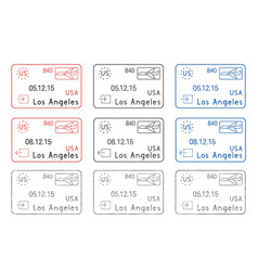 Los angeles passport stamps arrival and departure vector