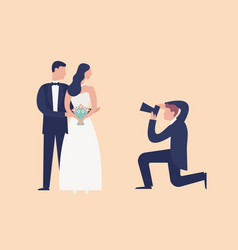 lovely newlyweds standing together and posing for vector image