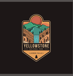 lower falls yellowstone national park patch vector image