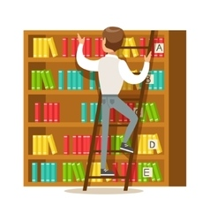 Man With Ladder Searching For A Book On Bookshelf vector