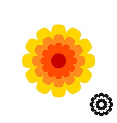 Marigold calendula flower top view logo Black vector