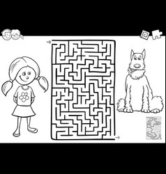 maze color book with girl nad her dog vector image