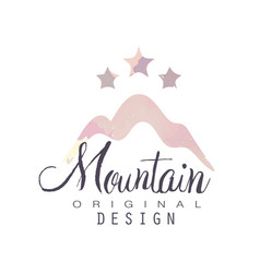Mountain original design logo with stars tourism vector