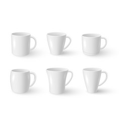 mugs different shaped for coffee tea realistic vector image