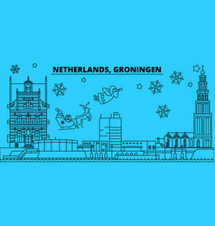 netherlands groningen winter holidays skyline vector image