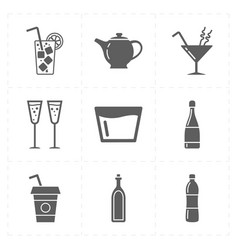 nine modern flat bar icons vector image